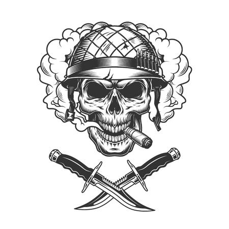 Crâne de soldat vintage dans un nuage de fumée et illustration vectorielle de couteaux croisés isolés