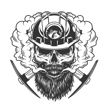 Bearded and mustached miner skull in smoke cloud with crossed axes in vintage monochrome style isolated vector illustration