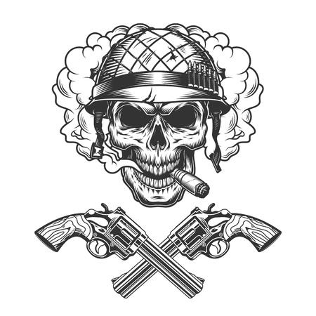 Vintage monochrome soldier skull smoking cigar in smoke cloud with crossed pistols isolated vector illustration Illustration