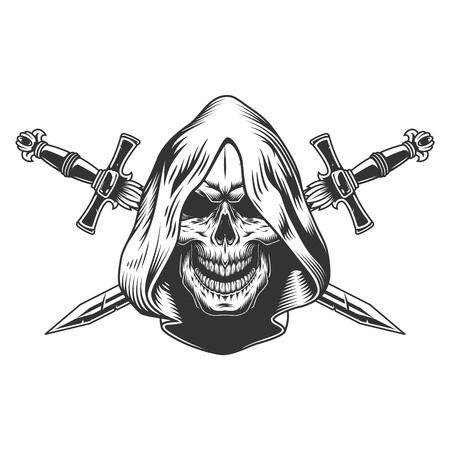 Schnitterschädel in Kapuze mit gekreuzten Schwertern im monochromen Vintage-Stil isolierte Vektorillustration