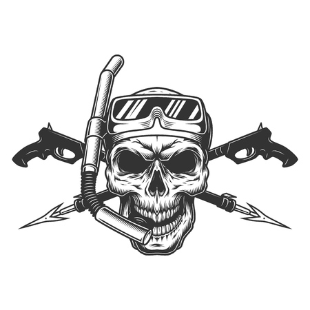 Vintage diver skull in scuba mask with crossed underwater guns isolated vector illustration