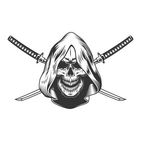 Reaper skull in hood with crossed sabers in vintage monochrome style isolated vector illustration Illustration
