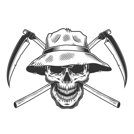 Vintage skull in panama hat with crossed scythes isolated vector illustration Иллюстрация