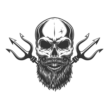 Bearded and mustached skull with crossed poseidon tridents in vintage monochrome style isolated vector illustration