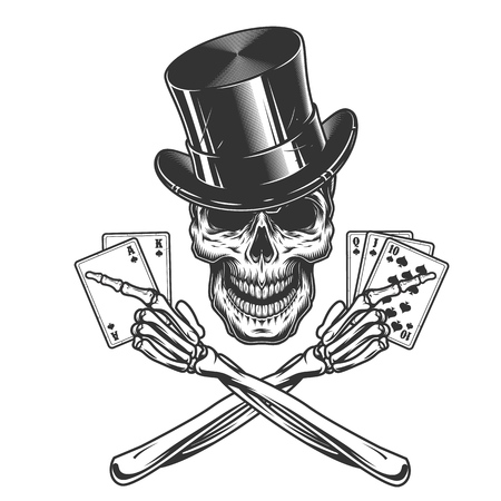 Vintage monochrome skull in cylinder hat and crossed skeleton hands holding playing cards isolated vector illustration