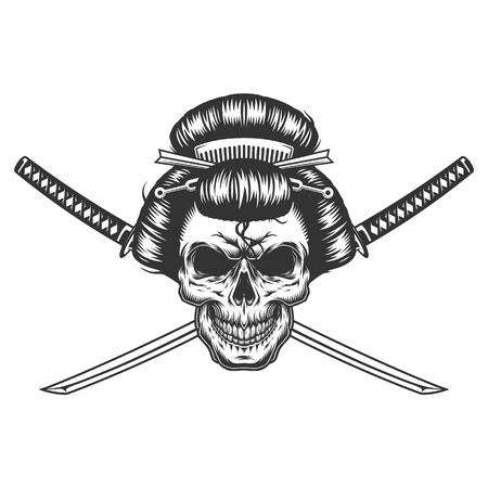 Vintage monochrome geisha skull with crossed swords isolated vector illustration
