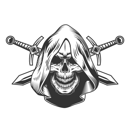 Vintage monochrome skull in hood with crossed swords isolated vector illustration Vettoriali