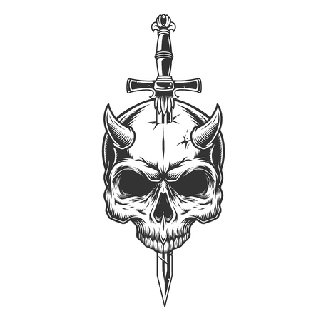 Demon skull pierced with knife in vintage monochrome style isolated vector illustration