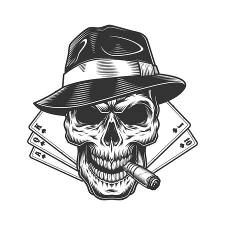 El concepto de juego monocromático de la vendimia con la pipa de fumar del cráneo en el sombrero fedora y los naipes aisló la ilustración del vector