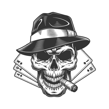 Vintage monochrome gambling concept with skull smoking pipe in fedora hat and playing cards isolated vector illustration