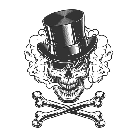 Vintage gentleman skull in cylinder hat with rimless eyeglass and crossbones in smoke cloud isolated vector illustration