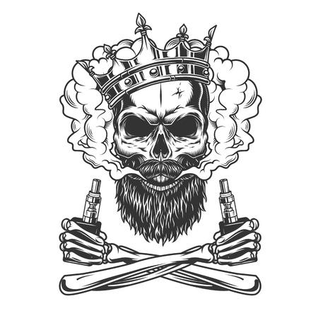 Crâne barbu et moustachu portant une couronne dans un nuage de fumée avec des mains squelettes tenant des vaporisateurs dans une illustration vectorielle isolée de style monochrome vintage