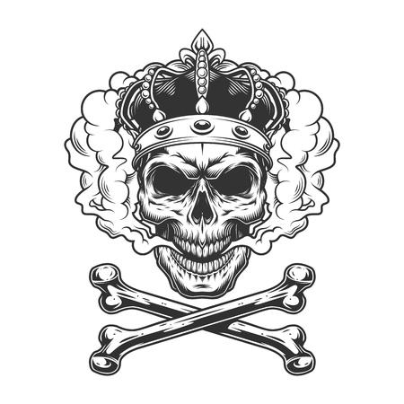 Crâne de roi monochrome vintage portant une couronne dans un nuage de fumée avec illustration vectorielle d'os croisés isolés Vecteurs