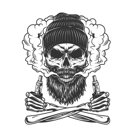 Vintage monochrome vaping concept with bearded and mustached hipster skull and crossed skeleton hands holding vaporizers isolated vector illustration