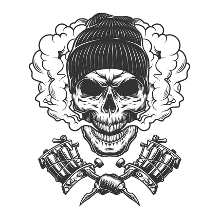 Vintage monochrome skull wearing beanie hat in smoke cloud with crossed tattoo machines isolated vector illustration