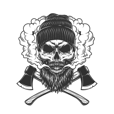 Lumberjack skull in smoke cloud with crossed axes in vintage monochrome style isolated vector illustration