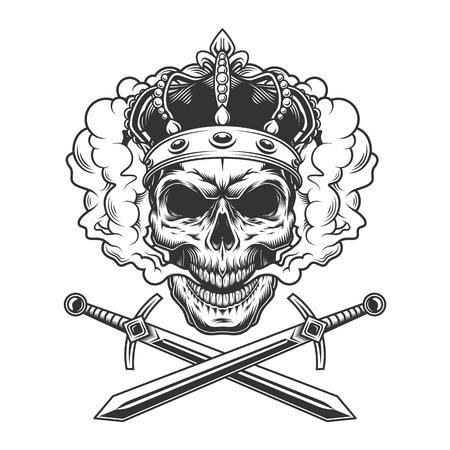 Crâne portant une couronne dans un nuage de fumée avec des épées croisées dans une illustration vectorielle isolée de style monochrome vintage