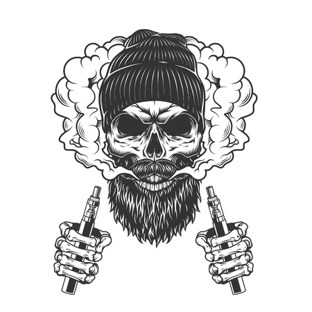 Skull wearing beanie hat in smoke cloud with skeleton hands holding electronic cigarettes in vintage monochrome style isolated vector illustration