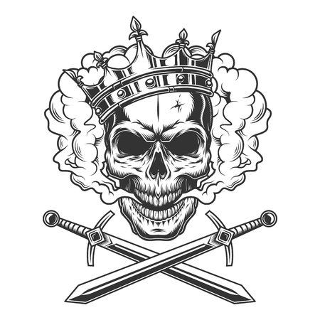 Vintage prince skull in smoke cloud with crossed swords isolated vector illustration