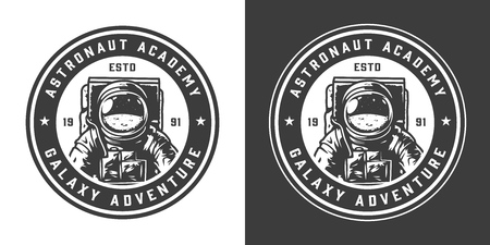 Vintage monochrome astronaut academy label with cosmonaut in spacesuit isolated vector illustration
