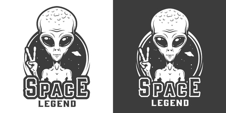 Vintage space monochrome   with alien showing peace sign isolated vector illustration