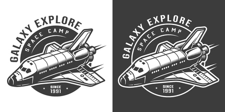Vintage monochrome galaxy exploration emblem with space ship isolated vector illustration