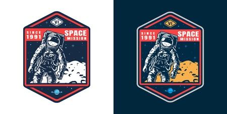 Vintage Weltraum buntes Abzeichen mit Astronaut im Raumanzug und Mondoberfläche isolierte Vektorillustration