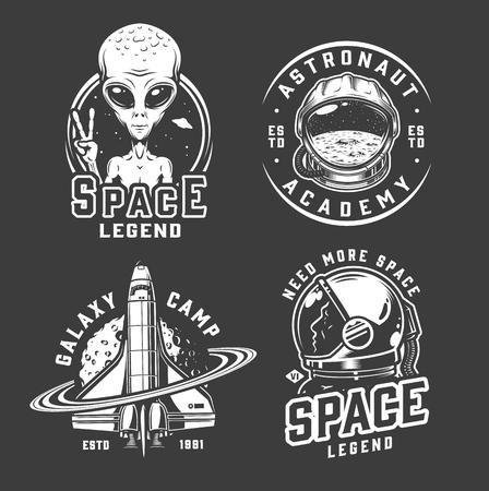 Ruimte en melkwegembleem met buitenaards tonen vredesteken kosmonaut helm shuttle ruimtevaarder in vintage zwart-wit geïsoleerde vectorillustratie