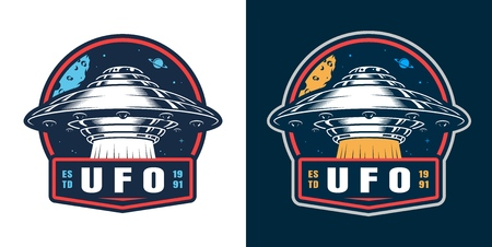 Vintage space colorful round badge with ufo isolated vector illustration