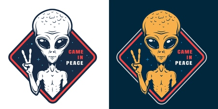 Alien showing peace sign colorful label in vintage style isolated vector illustration