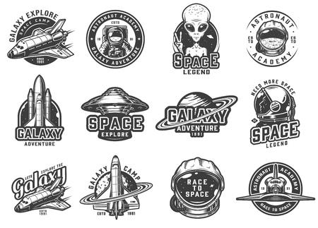 Emblèmes spatiaux monochromes vintage sertis de navettes extraterrestres montrant le signe de la paix fusée ovni saturne planète cosmonaute casque astronaute isolé illustration vectorielle