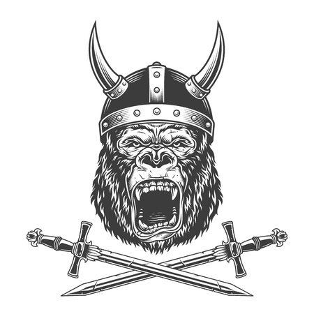 Vintage monochrome ferocious gorilla head in horned viking helmet with crossed swords isolated vector illustration Иллюстрация