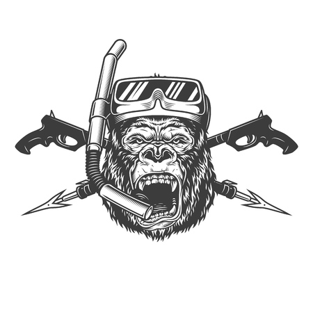 Vintage monochrome angry gorilla diver head with scuba mask snorkel and crossed underwater guns isolated vector illustration Illustration