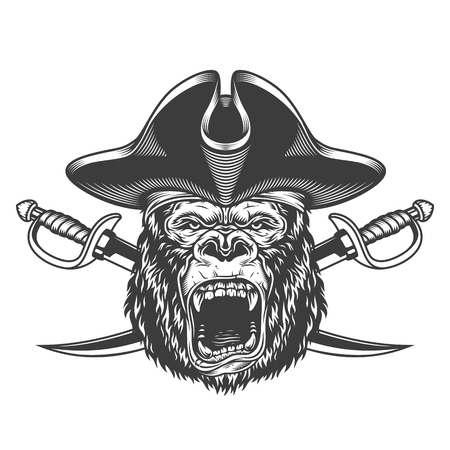 Angry gorilla head in pirate hat with crossed swords in vintage monochrome style isolated vector illustration Illustration