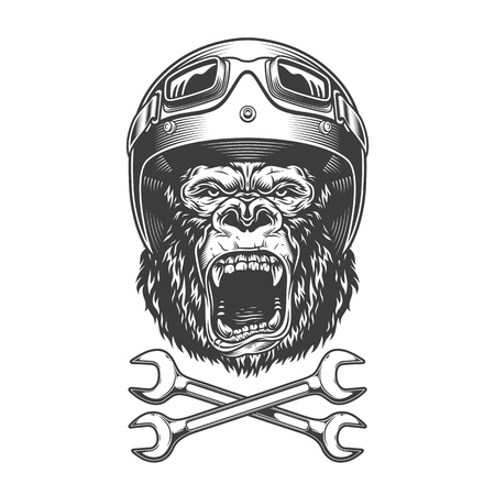 Vintage monochrome angry gorilla head in motorcycle helmet and goggles with crossed wrenches isolated vector illustration