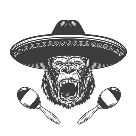 Angry gorilla head in sombrero hat with maracas in vintage monochrome style isolated vector illustration 일러스트