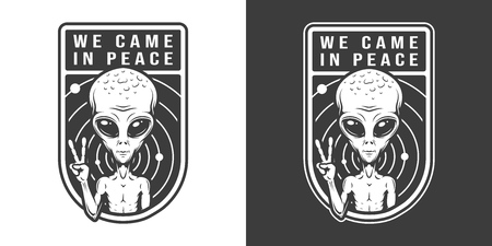 Extraterrestrial showing peace sign emblem in vintage monochrome style isolated vector illustration