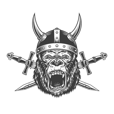 Angry gorilla head in horned viking helmet with crossed swords in vintage monochrome style isolated vector illustration