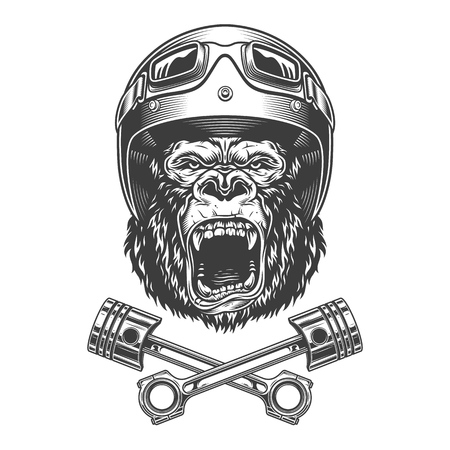 Ferocious gorilla head in motorcycle helmet and goggles with crossed engine pistons in vintage monochrome style isolated vector illustration
