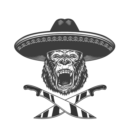 Vintage monochrome ferocious gorilla head in mexican sombrero hat with crossed knives isolated vector illustration  イラスト・ベクター素材