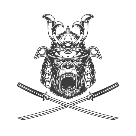 Ferocious gorilla head in samurai helmet with crossed sabers in vintage monochrome style isolated vector illustration