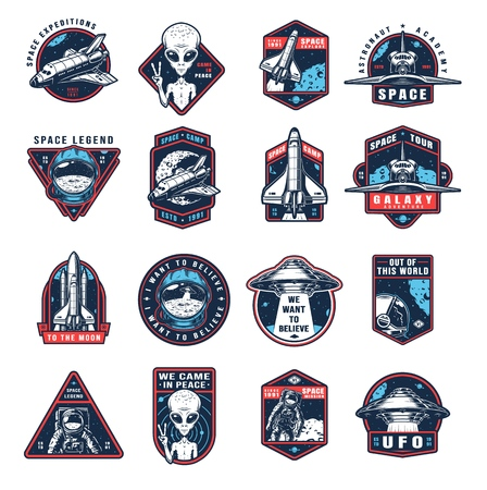 Vintage space colorful labels collection with extraterrestrial ufo shuttle spaceships rocket astronauts on white background vector illustration