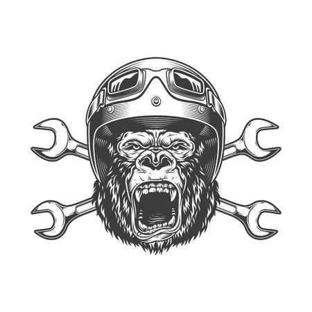 Cabeza de gorila feroz en casco de moto y gafas con llaves cruzadas en ilustración de vector aislado estilo monocromo vintage Ilustración de vector