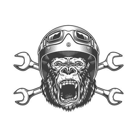 Ferocious gorilla head in moto helmet and goggles with crossed spanners in vintage monochrome style isolated vector illustration