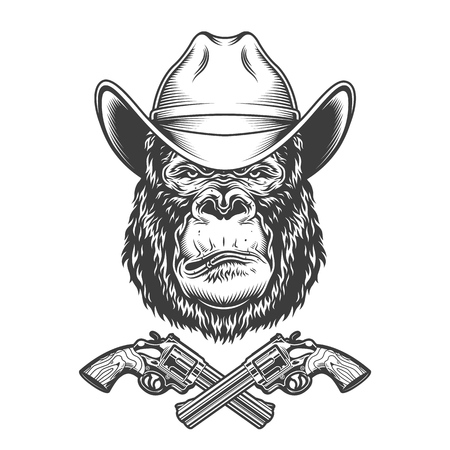 Vintage gorilla head in cowboy hat with crossed revolvers isolated vector illustration