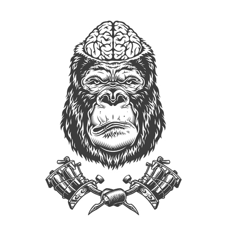 Vintage gorilla head with human brain and crossed tattoo machines in monochrome style isolated vector illustration