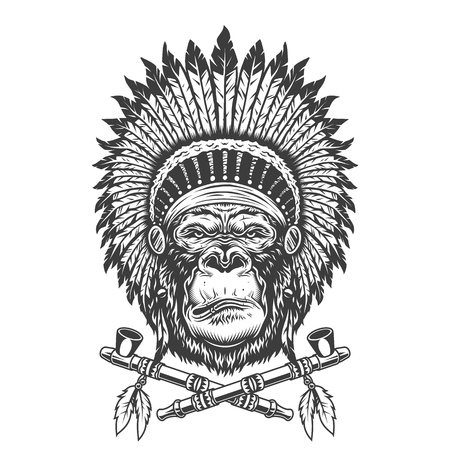 Native american indian chief gorilla head with feathers headwear and crossed smoking pipes isolated vector illustration