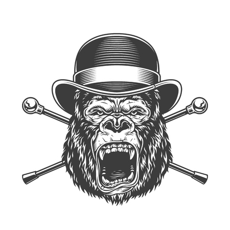 Ferocious gorilla head in fedora hat with crossed walking sticks in vintage monochrome style isolated vector illustration  イラスト・ベクター素材