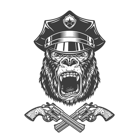 Vintage monochrome angry gorilla head in police cap with crossed revolvers isolated vector illustration