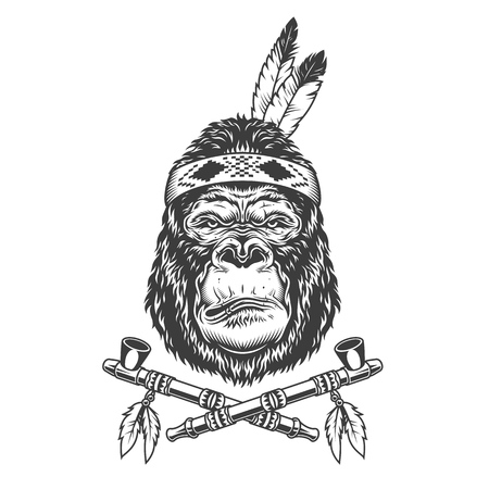 Native american indian serious gorilla head with feathers and crossed smoking pipes in vintage monochrome style isolated vector illustration